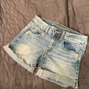 American Eagle Light Wash Midi Shorts